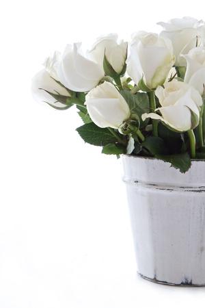 Witte rozen in een houten contaner en geïsoleerd op een witte achtergrond