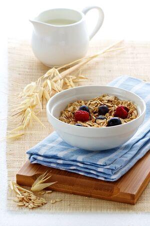 Haver met bessen en melk voor een voedzaam ontbijt Stockfoto