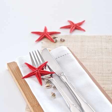 Table setting with seaside theme
