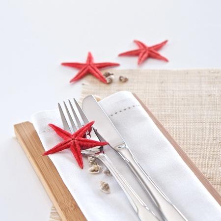 napkins: Table setting with seaside theme