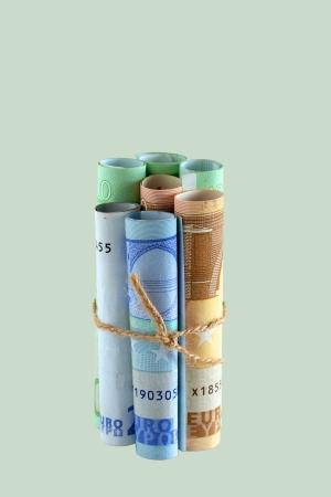 zone euro: Crise zone euro, avec des notes Euro ligot� comme un concept
