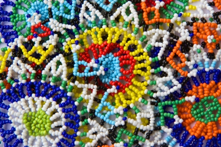 colorful beads: Beaded design background with African influence