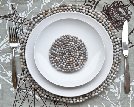 Table place setting with beaded mats photo