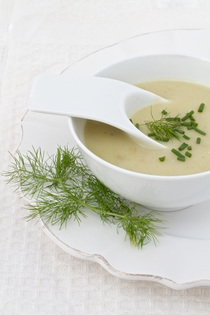 chives: Leek and Potato soup with fennel and chives Stock Photo