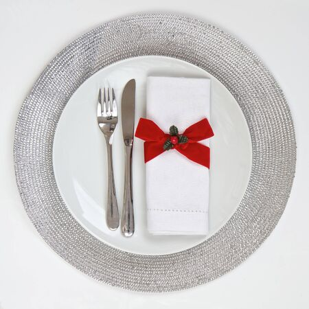place mat: Table Setting with silver place mat
