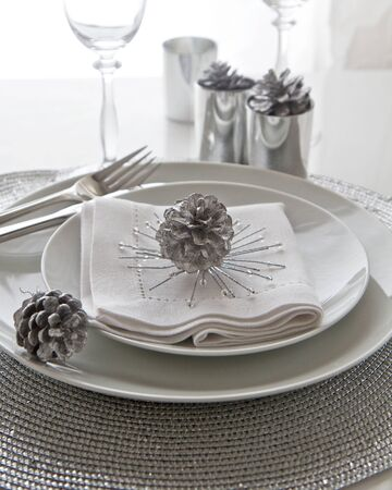 Christmas Table Setting in silver