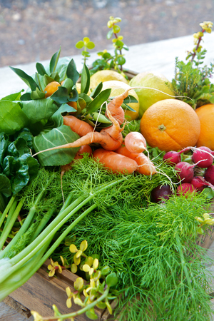 Box of organic fruit and vegetables from the market
