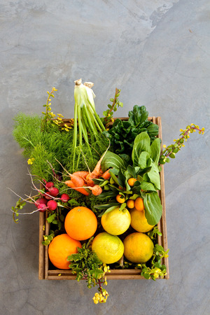 Box of organic fruit and vegetables