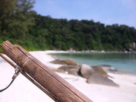 perhentian: Bamboo on deserted beach