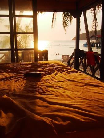 tropical beaches: Sunset view from beach hut