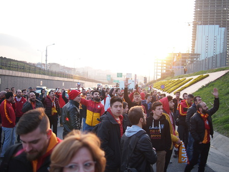 chant: Istanbul, Turkey - March 20, 2016: Angry fans protest outside the Turk Telecom Arena as the Galatasaray v Fenerbahce match is cancelled due to a bomb scare Editorial
