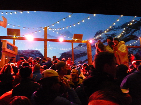 Val d'Isere, France - March 14, 2016: Outdoor apres ski in the Alps