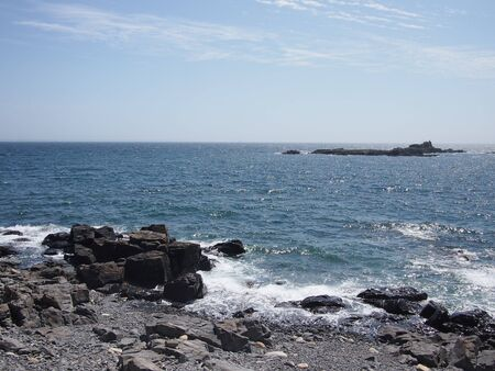 summers: Rocky British coastline on a summers day