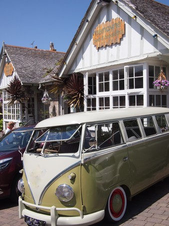 mousehole: Mousehole, Cornwall, UK - July 11, 2015: Retro Campervan well looked after