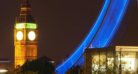 millennium wheel: Big Ben & Millennium Wheel at night
