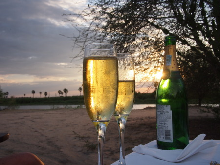 Selous Game Reserve, Tanzania - November 24, 2015: Champagne glasses and bottle on a luxury sunset safari