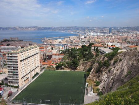 marseille: Urban football pitch in the Marseille hills Stock Photo