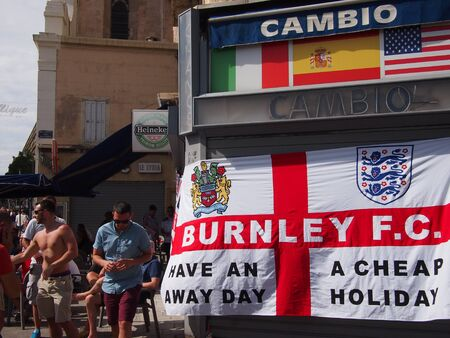 burnley: Marseille, France - June 11, 2016: England fans supporting their team in the infamous 1-1 draw with Russia at Euro 2016. Clashes with police, Marseille and Russian fans dominated the headlines.
