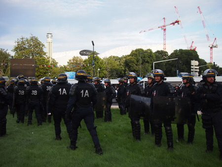 occurrence: Marseille, France - June 11, 2016: Riot police outside the stadium before Englands 1-1 draw with Russia at Euro 2016. Clashes with police, Marseille and Russian fans dominated the headlines. Editorial