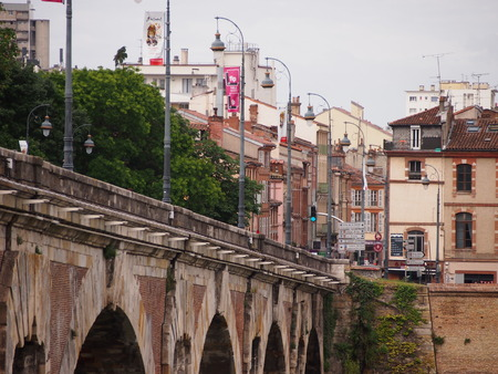 town centre: Old bridge in Toulouse town centre Editorial
