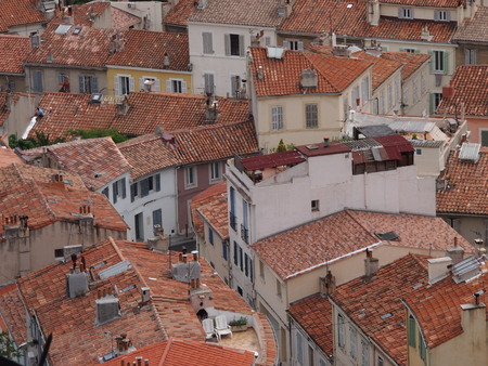 rooftops: Red Marseille rooftops from above Stock Photo