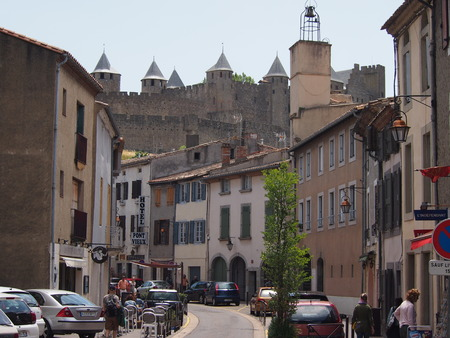 town centre: Carcassonne, France - June 25, 2016: Carcassonne town centre in summer Editorial