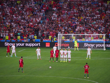 Marseille, France - June 30, 2016: Christiano Ronaldo lines up a free kick as Portugal defeat Poland on penalties after a 1-1 draw in the Euros quarter final