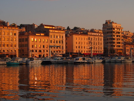 Marseille Vieux Port at sunset Stock Photo