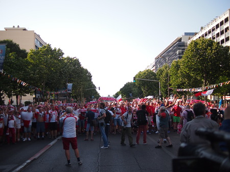chant: Marseille, France - June 30, 2016: Poland fans sing, chant, dance, and march to the stadium before their quarter final match against Portugal in the Euros. Editorial