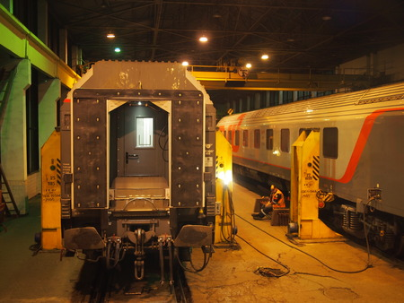 Minsk, Belarus - September 11, 2016: On the Paris to Moscow express train journey, you must stop in the middle of the night to change the trains bogies. This is the width of the wheels, as the Russian train network operates on a different sized gauge to