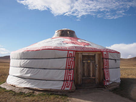 Traditional Mongolian ger in the sunshine outside Ulaanbaatar