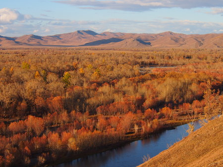 unesco: Mongolian landscape and river in Autumn colours Stock Photo