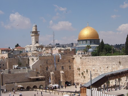 Jerusalem, Israel - 02 June, 2017: The sacred religious sites of the Western Wall and the Dome of the Rock Editorial