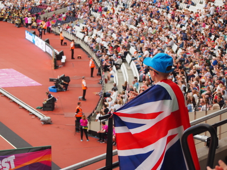 London, UK - 13 August, 2017: British fan cheers on the athletes