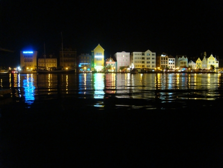 curacao: Curacao harbour view by night Stock Photo