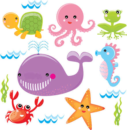Different animals living in the ocean Vector