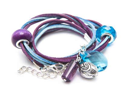 Designer handmade jewellery blue & lavender isolated  photo