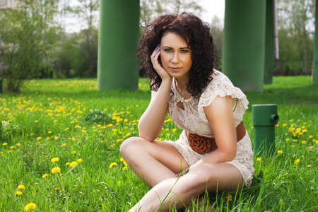 meadowland: Woman sitting on the meadowland