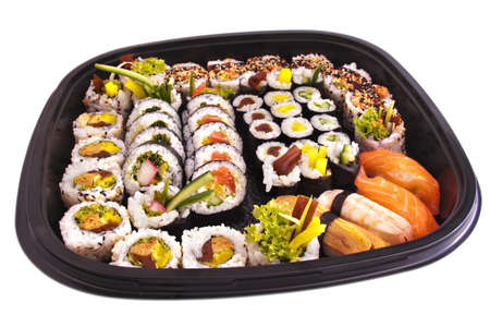 Party tray of sushi and rolls white background isolated photo
