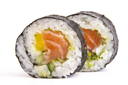 sushi plate: Tasty food Sushi Roll white background isolated Stock Photo