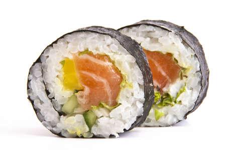 nigiri: Tasty food Sushi Roll white background isolated Stock Photo