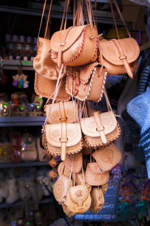 zakopane: Leather handbags on stall in Zakopane