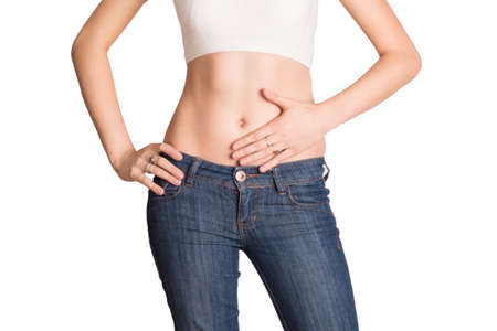 Stomach ache - female model posing Stock Photo - 26039989