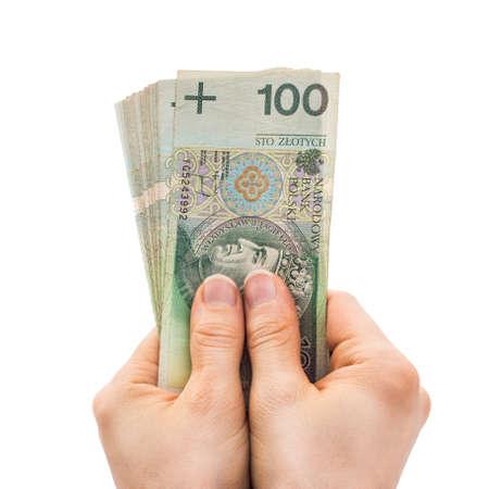 Polish Money in hands Stock Photo
