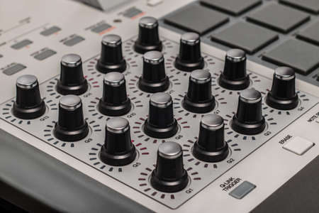 proffessional: Detail of a music mixer desk with various knobs Stock Photo