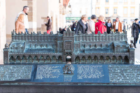 cloth halls: Krak�w - Cloth Hall Model with Tourists Editorial