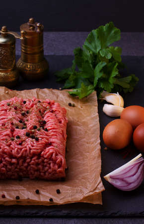 carne de vacuno picada fresca sin procesar Foto de archivo