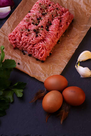 minced meat: Raw fresh beef minced meat Stock Photo