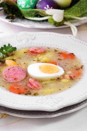 white sausage: Borscht, eggs, white, sausage, Polish, easter soup Stock Photo