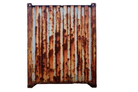 Old rusty red container For delivery Cut white background For ease of use
